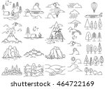 Nature line icon landscapes with mountains, fields and river, volcano and hiking camps. Also aircraft and ballooning in sky. Vector illustration | Shutterstock vector #464722169