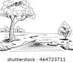 park lake tree graphic art...