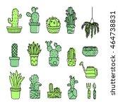 set of fancy cactus plants ... | Shutterstock .eps vector #464738831