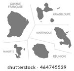 oversea departments france map... | Shutterstock .eps vector #464745539