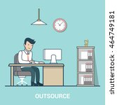 linear flat outsourcing... | Shutterstock .eps vector #464749181