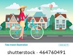 fashion girl rides a bicycle... | Shutterstock .eps vector #464760491