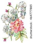 flower watercolor background.... | Shutterstock . vector #464777885