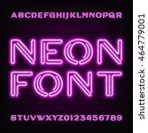 neon tube alphabet font. purple ... | Shutterstock .eps vector #464779001