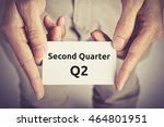 Small photo of Second Quarter (Q2) of business - text on card hold by man