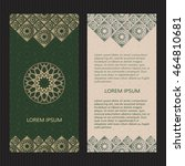 set of two islamic luxury cards.... | Shutterstock .eps vector #464810681