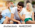 two girls chatting  while the... | Shutterstock . vector #464825345