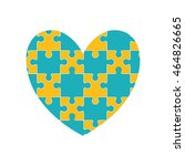 puzzle heart jigsaw game figure ... | Shutterstock .eps vector #464826665