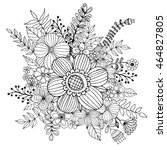 flower doodle drawing freehand... | Shutterstock .eps vector #464827805