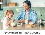 cute little girl and her... | Shutterstock . vector #464829359