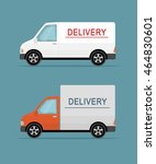 two delivery vans isolated on...   Shutterstock .eps vector #464830601