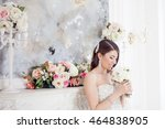 portrait beautiful bride with a ... | Shutterstock . vector #464838905
