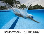 portrait of a female swimmer ... | Shutterstock . vector #464841809