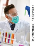 scientist observing results of... | Shutterstock . vector #464844854