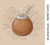 illustration with mate tea in... | Shutterstock .eps vector #464871455