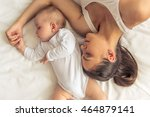 top view of beautiful young mom ... | Shutterstock . vector #464879141