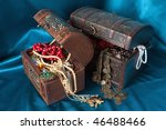 two wooden treasure chests with ... | Shutterstock . vector #46488466