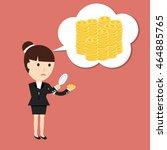 businesswoman considers coin... | Shutterstock .eps vector #464885765