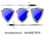 blue shields with metal frames. ... | Shutterstock .eps vector #464887859