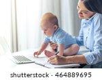 beautiful business lady in... | Shutterstock . vector #464889695