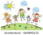 happy kids | Shutterstock .eps vector #464890115