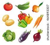 vegetable set cartoon hand... | Shutterstock .eps vector #464893307