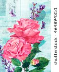 Watercolor Pink Roses With...