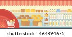 flat interior supermarket with... | Shutterstock .eps vector #464894675