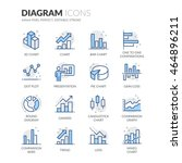 simple set of graph and diagram ... | Shutterstock .eps vector #464896211