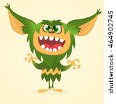 happy cartoon gremlin monster.... | Shutterstock .eps vector #464902745