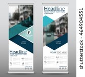 blue fold roll up business... | Shutterstock .eps vector #464904551