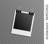 Collection of blank photo frames with adhesive tape, different shadow effects and empty space for your photograph and picture. EPS 10 vector illustration. Polaroid frames on wall attached with pins.