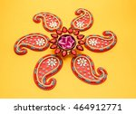 rangoli design around diwali... | Shutterstock . vector #464912771