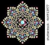 mandala brooch jewelry  design... | Shutterstock .eps vector #464913977