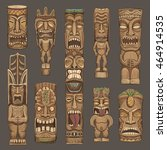 collection of wooden tiki... | Shutterstock .eps vector #464914535