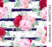 Navy Blue Striped Floral...