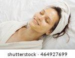 girl with a honey facialmask... | Shutterstock . vector #464927699