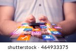 man holding smart phone with... | Shutterstock . vector #464933375