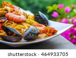 italian pasta with seafood in... | Shutterstock . vector #464933705