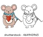 cute mouse with heart. coloring ... | Shutterstock . vector #464943965