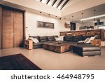 big leather sofa in apartment... | Shutterstock . vector #464948795
