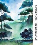 watercolor forest. | Shutterstock . vector #464950691