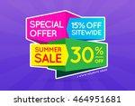 summer sale sign banner poster... | Shutterstock .eps vector #464951681