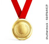first place gold medal with red ... | Shutterstock . vector #464964419
