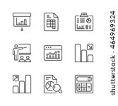 statistics icons set  thin line ... | Shutterstock .eps vector #464969324