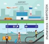 airport passenger terminal and...   Shutterstock .eps vector #464970254