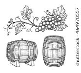 grape branches and wine barrels.... | Shutterstock .eps vector #464970557
