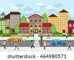 children going to school on a... | Shutterstock .eps vector #464980571
