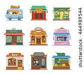 set of nice showcases of shops. ...   Shutterstock .eps vector #464989544