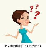 thinking woman character.... | Shutterstock .eps vector #464990441
